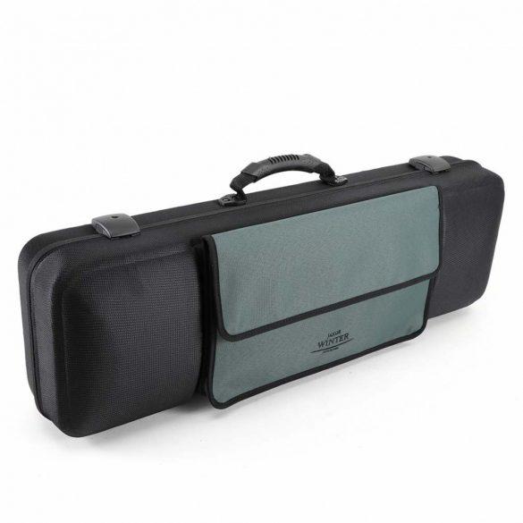 Winter hegedű koffertok, Green Line, kottatartó zsebbel, 4/4 - 3/4 fekete/ kék kottazseb