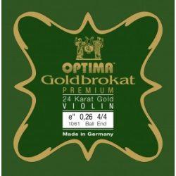 Optima Goldbokat Premium 24K Gold fém hegedűhúr E  0,26 közepes,  4/4, gombos